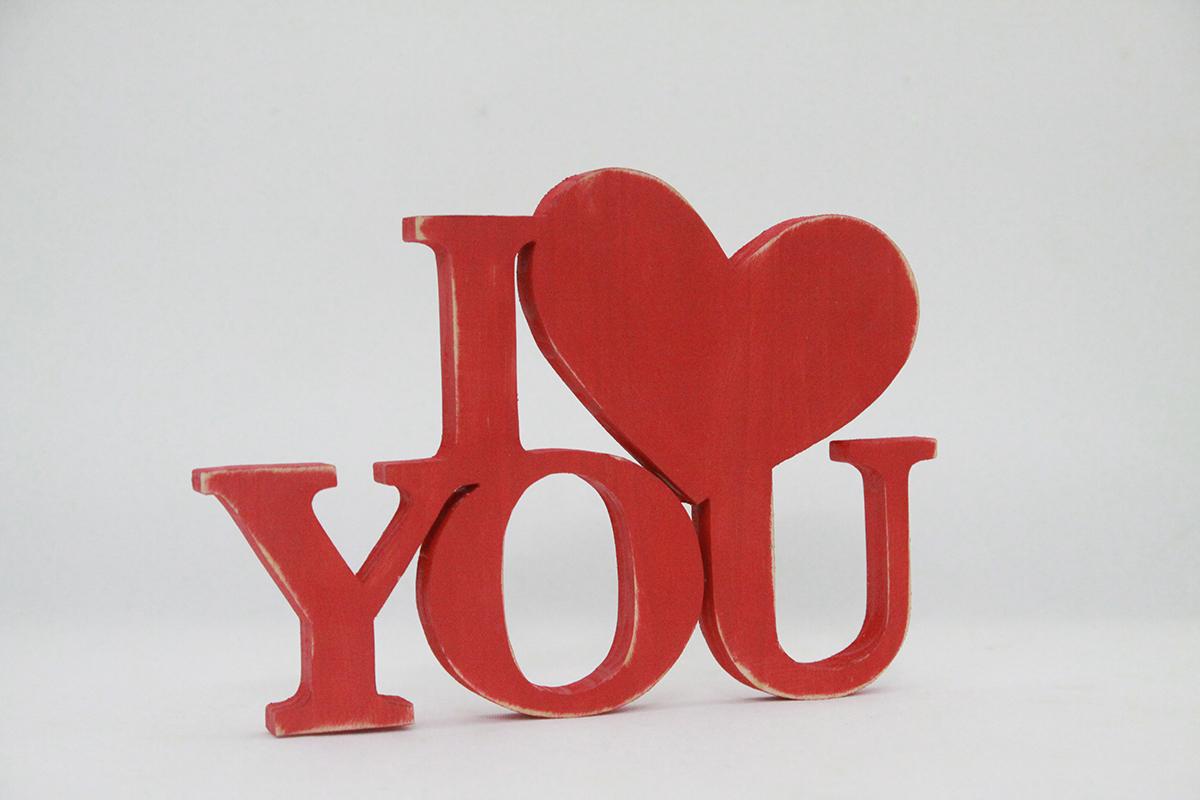 Chữ gỗ I Love You màu đỏ số 22